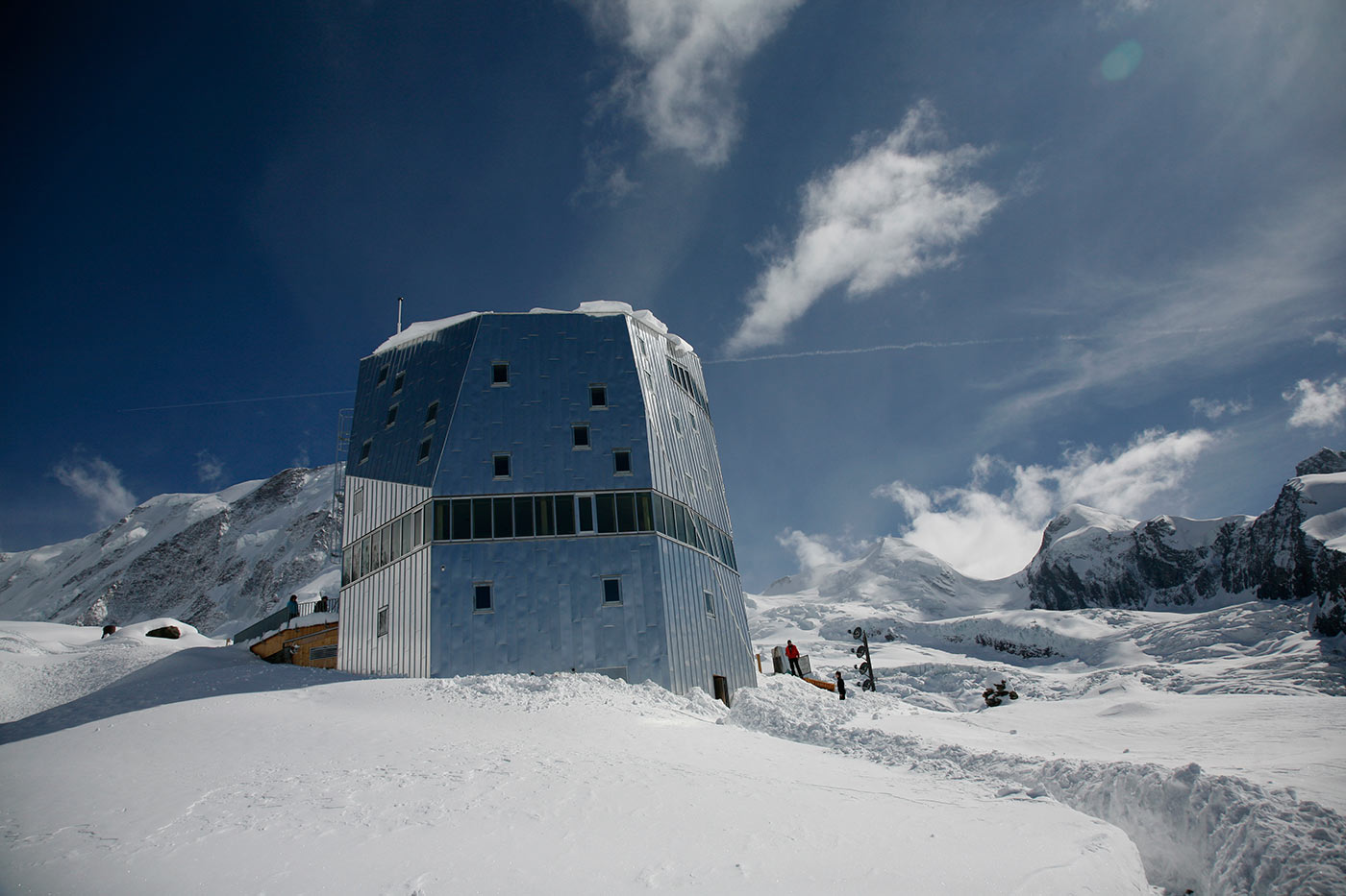 Serious mountaineering skills are required to even reach the Monte Rosa hut