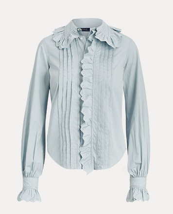 Pale blue ruffled & pleated blouse