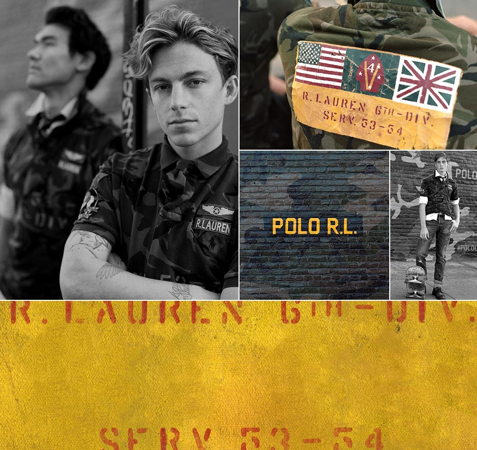 6803b80311 Collage featuring The Military Polo Shirt and its various motifs