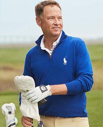 Billy Horschel on course in plaid RLX half-zip pullover