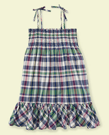 Cotton madras dress with tied straps