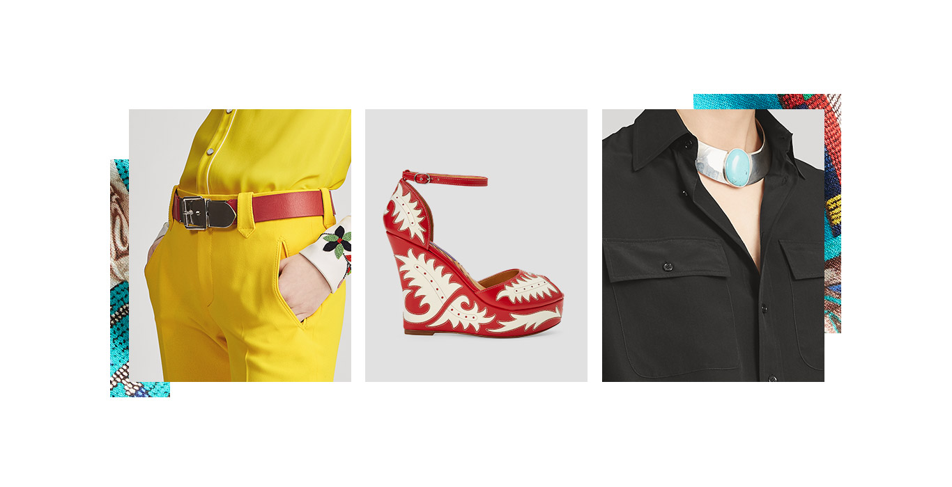 Woman in yellow pants paired with a wide red leather belt; Red ankle-strap platform sandal with cream Southwestern motifs; Woman wearing silver collar necklace with large turquoise pendant