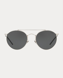 Round tinted sunglasses with silver frames