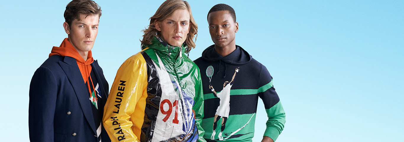 Men in sport- and nautical-inspired sweatshirts & outerwear