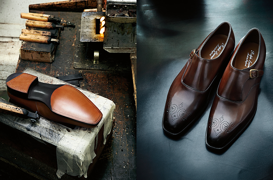 At left, each shoe is finished and burnished by hand after heating irons in a fire. The iron next to the shoe is used for a toe pattern that is exclusive to Ralph Lauren. At right, the final product—hand-finished to produce the deep, rich colors you see here.