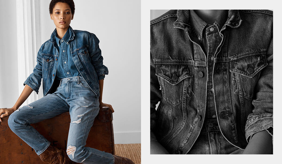 Woman in denim trucker jacket paired with jeans & chambray shirt