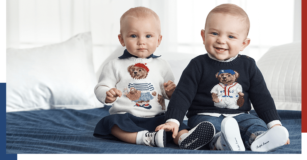 Babies wear Polo Bear sweaters.