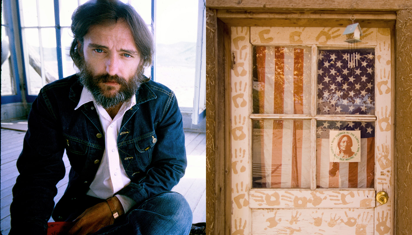 Dennis Hopper in Taos, 1970; An American flag in a door at the Taos Pueblo