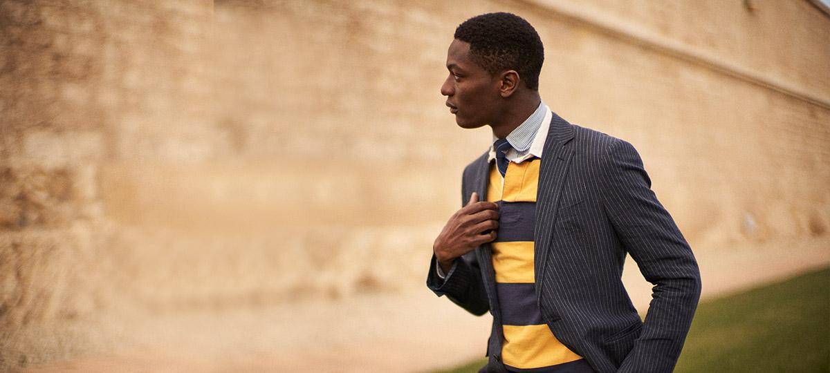 Model in navy wool blazer
