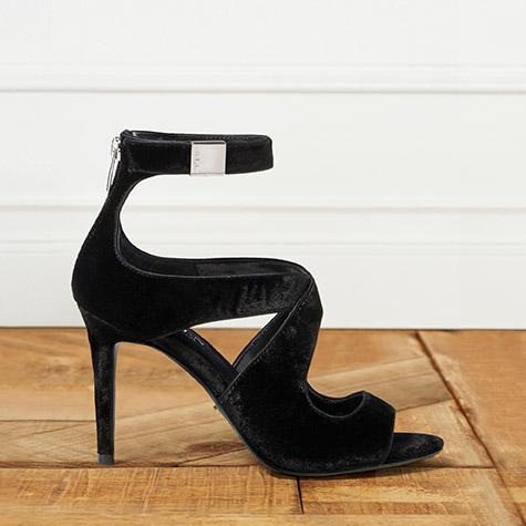 Suede black ankle-strap sandal