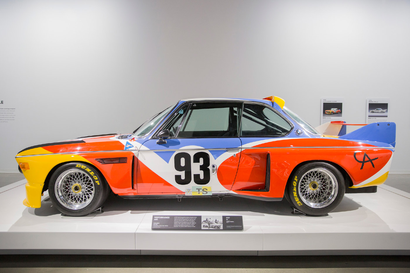 The museum houses several BMW Art Cars, including a 1975 BMW 3.0 CSL swathed in Alexander Calder's brilliant primary colors (pictured) and a 1995 BMW 850 CSi as reimagined by David Hockney