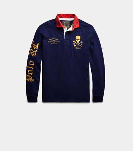 Navy rugby shirt with Gothic lettering & skull & crossbones embroidery