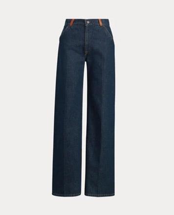 Wide-leg dark-wash jeans