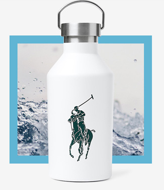 White water bottle with black Polo Pony graphic at front