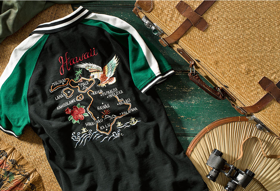 Embroidered Hawaii map, eagle, palm trees & waves at back of shirt