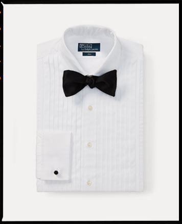 White button-down with bib front paired with black bow tie