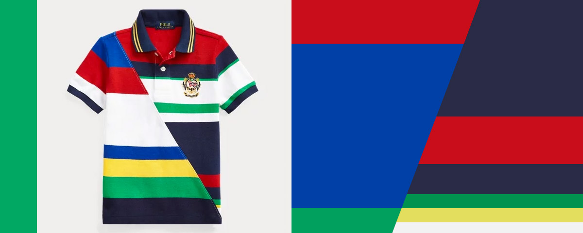 Alternating image of graphic Polo shirts.