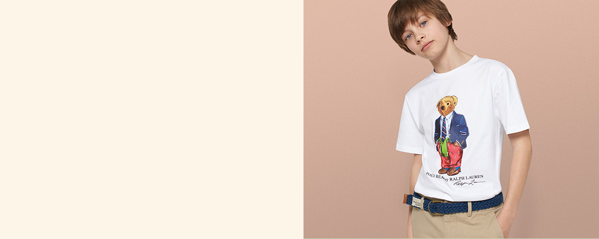 Boy wears Preppy Bear Polo T-shirt.