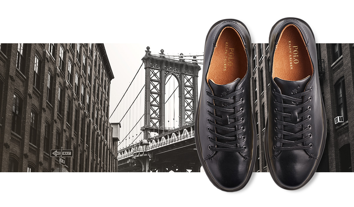 Black leather sneaker with laces & picture of city bridge