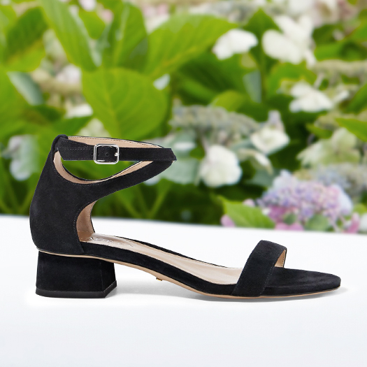 Open-toe ankle-strap black suede sandal with low heel