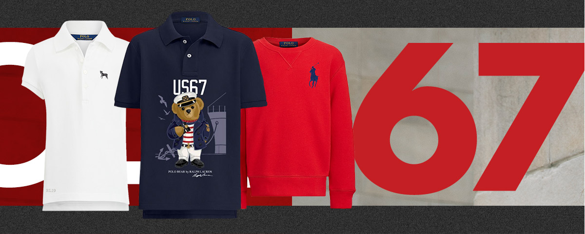 Customized Polo shirts and sweatshirts in a patriotic palette.