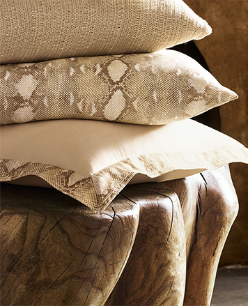 Tan throw pillows accented with a python print