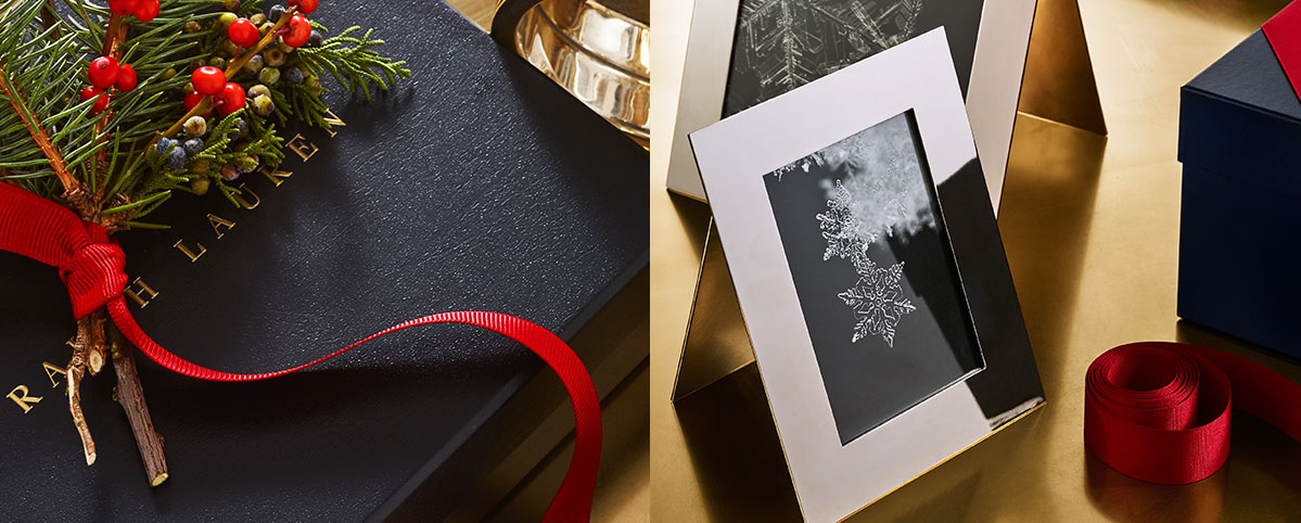 Silver frames & navy Ralph Lauren gift boxes