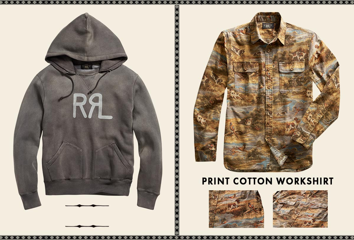 Grey Double RL logo hoodie & shirt with outdoors-inspired print