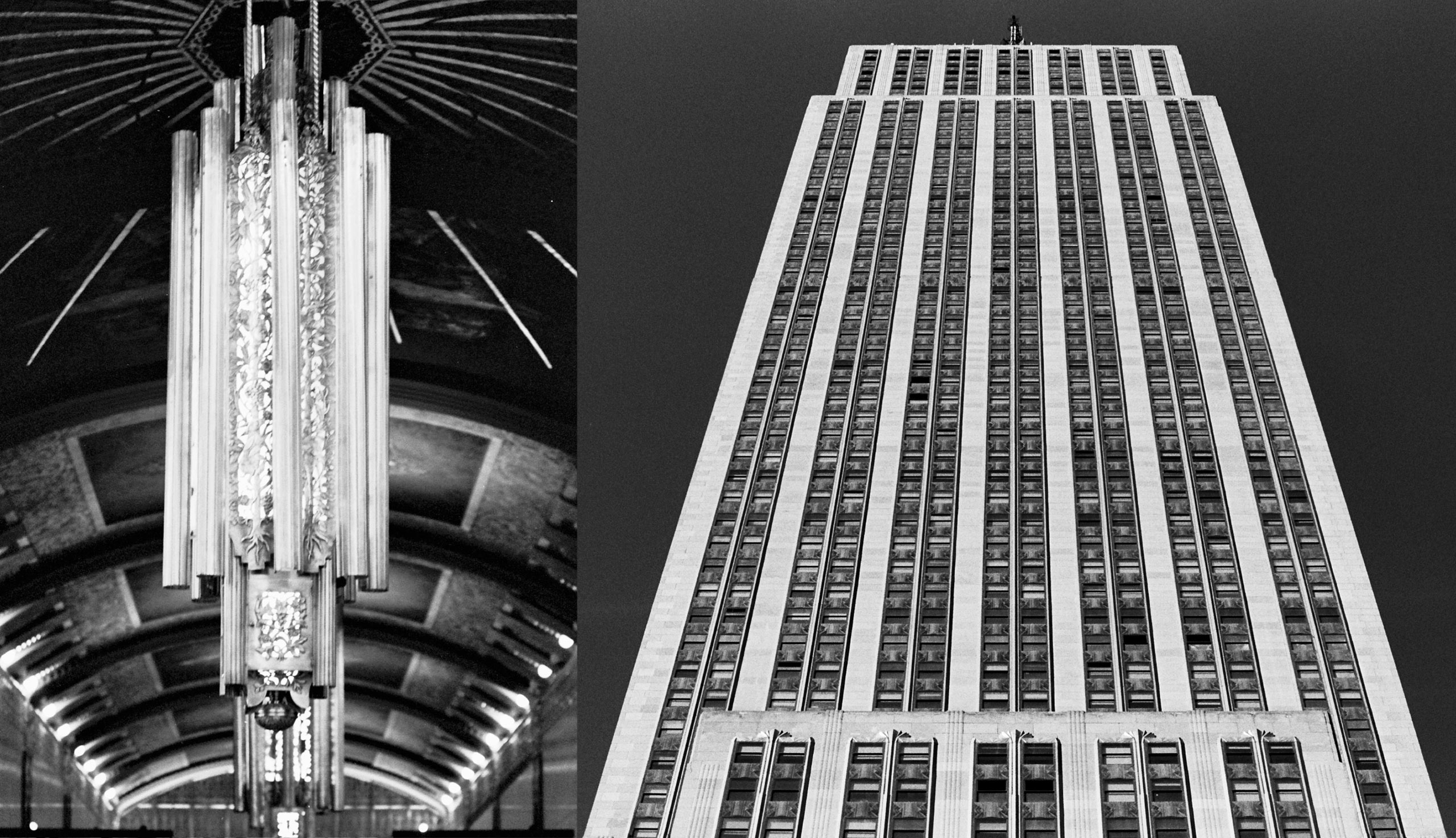 Left: Chandeliers inside the lobby at 100 Barclay. Right: the Empire State Building