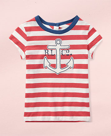 Red-and-white T-shirt with anchor graphic at the chest.