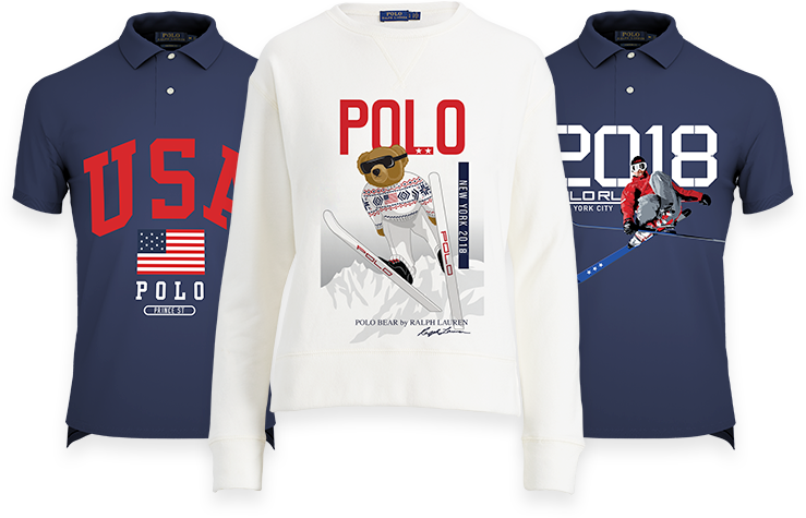 Polo shirts with Olympic-inspired graphics in red, white, and blue