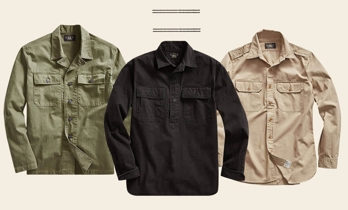 0e2f99c356 Button-down shirts in army green