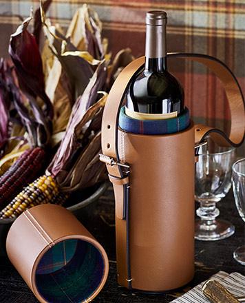 Tan leather wine tote