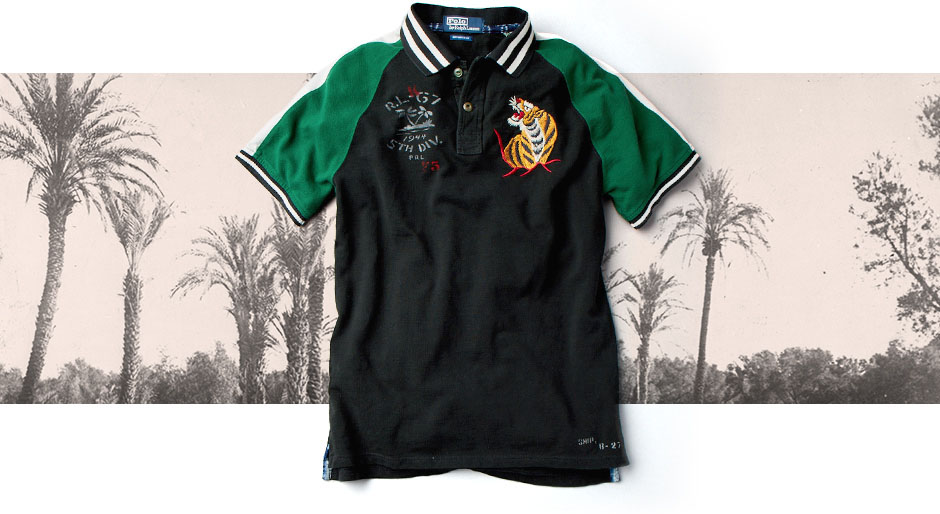Back of Military Polo Shirt with graphic based on WWII-era duffel bags