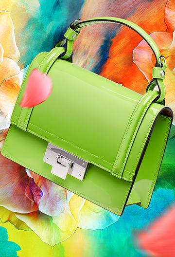 Yellow-green patent handbag