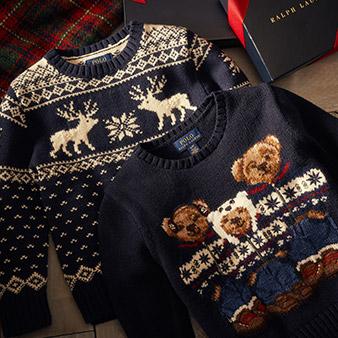 Navy sweater with reindeer & snowflake motif