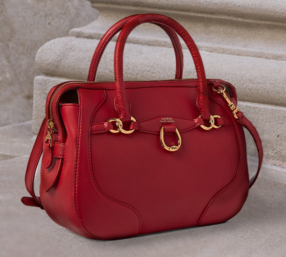 Large red shoulder bag with gold hardware