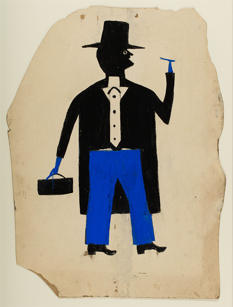 <em>Man in Black and Blue with Cigar and Suitcase</em>, by Bill Traylor, ca. 1939–1942, pencil and posterpaint on cardboard. Collection of Jerry and Susan Lauren. Photo: Matt Flynn © Smithsonian Institution