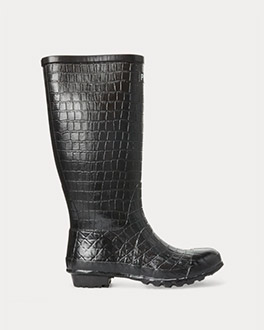 Croc-embossed black rain boot