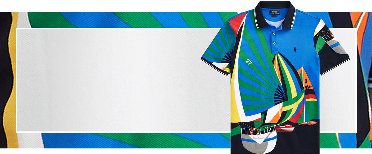 Animated GIF of Polo shirts with bold allover graphics
