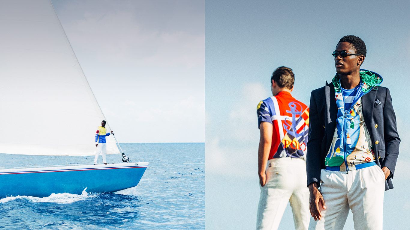 Models in nautical-inspired styles next to photograph of man sailing