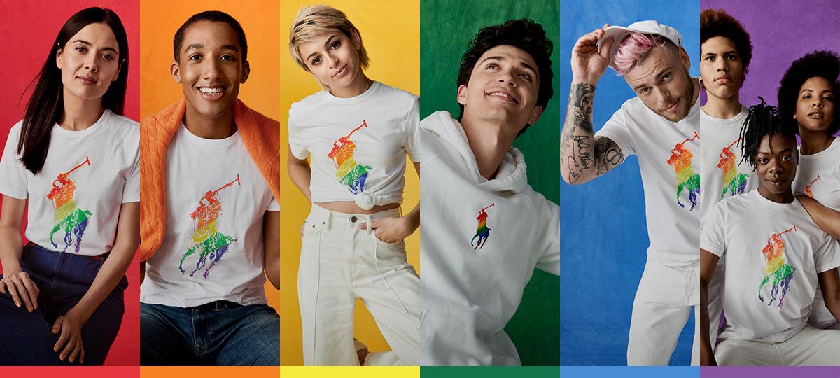 Women, men & youth in white rainbow Pony tees & sweatshirts