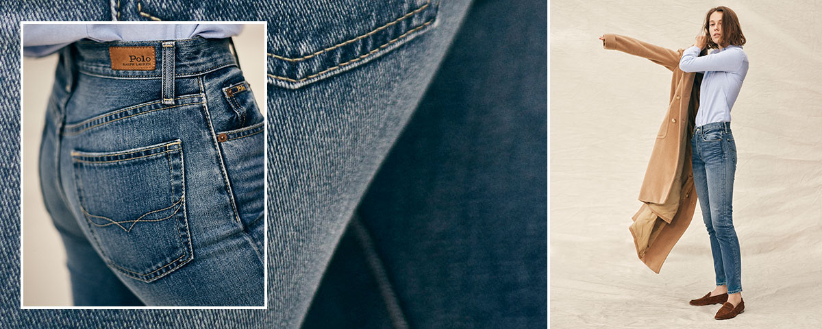 Close-up of Polo jeans; woman wears Polo denim, button-down shirt, and camel coat.