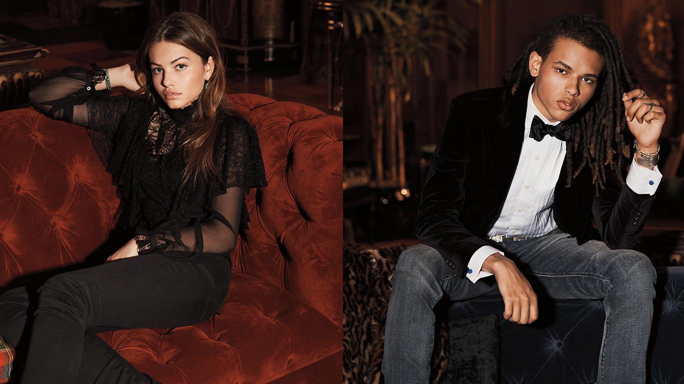 Man in velvet suit & woman in lace-trim chiffon top