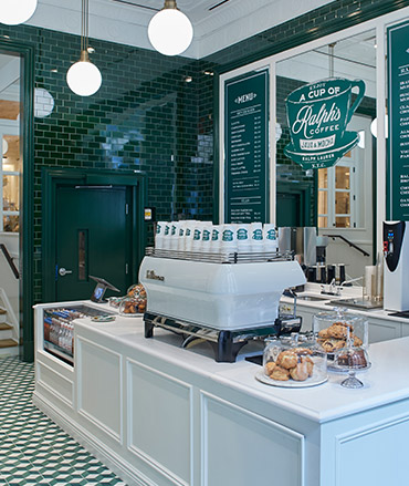 Interior of Ralph's Coffee Flatiron District shop