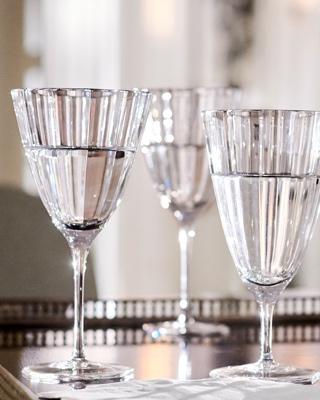 Beveled crystal stemmed glassware