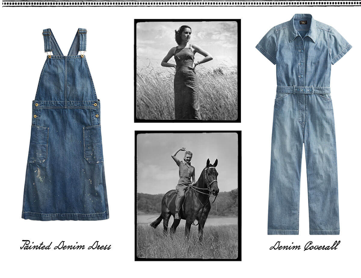 Photograph of woman riding horse & denim dress & coverall