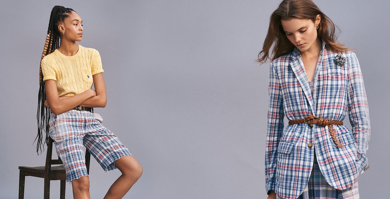 7370991eefc9 Woman in plaid shorts   woman in plaid blazer