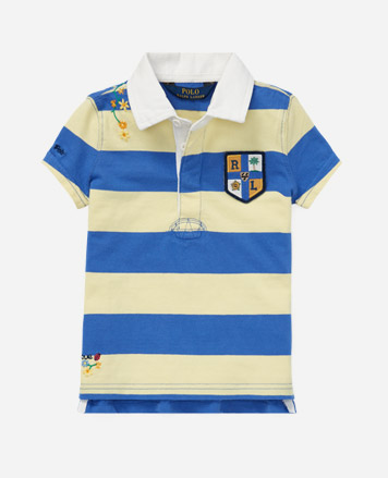 Blue and yellow striped Polo shirt with crest patch at the chest.