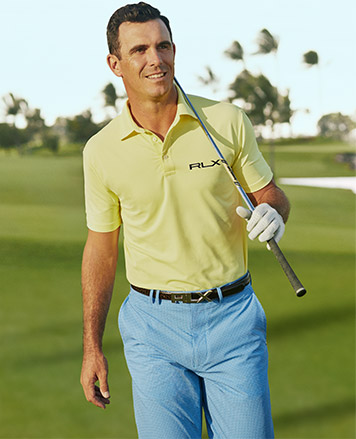 Man in yellow RLX Golf Polo shirt